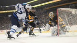PITTSBURGH, PA - OCTOBER 08: Justin Schultz #4 of the Pittsburgh Penguins deflects a puck away from goalie Matt Murray #30 as Mason Appleton #82 of the Winnipeg Jets drives to the net in the first period. (Photo by Justin Berl/Getty Images)