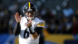 CARSON, CALIFORNIA - OCTOBER 13: Quarterback Devlin Hodges #6 of the Pittsburgh Steelers warms up ahead of his first career NFL start against the Los Angeles Chargers at Dignity Health Sports Park (Photo by Katharine Lotze/Getty Images)