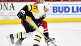 Evgeni Malkin #71 of the Pittsburgh Penguins moves the puck up the ice against the Carolina Hurricanes in the second period of their game at PNC Arena on December 22, 2018 in Raleigh, North Carolina. (Photo by Grant Halverson/Getty Images)