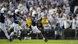Tariq Castro-Fields of the Penn State Nittany Lions celebrates a interception during the second quarter against the Michigan Wolverines on October 19, 2019 at Beaver Stadium in University Park, Pennsylvania. (Photo by Brett Carlsen/Getty Images)