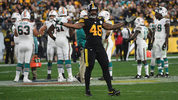 PITTSBURGH, PA - OCTOBER 28: Bud Dupree #48 of the Pittsburgh Steelers attempts to pump up the crowd in the second half during the game against the Miami Dolphins at Heinz Field on October 28, 2019. (Photo by Justin Berl/Getty Images)