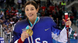 GANGNEUNG, SOUTH KOREA - FEBRUARY 22: Gold medal winner Hilary Knight #21 of the United States celebrates after defeating Canada in a shootout in the Women's Gold Medal Game on day thirteen of the PyeongChang. (Photo by Bruce Bennett/Getty Images)
