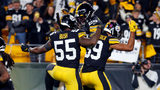 PITTSBURGH, PA - NOVEMBER 10: Minkah Fitzpatrick #39 of the Pittsburgh Steelers celebrates with Devin Bush #55 and Kam Kelly #29 after recovering a fumble for a 43 yard touchdown (Photo by Justin K. Aller/Getty Images)