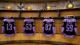 """Pittsburgh Penguins commemorative jerseys for """"Hockey Fights Cancer"""" night. (Photo credit: Pittsburgh Penguins via Twitter)"""