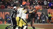 Quarterback Mason Rudolph #2 of the Pittsburgh Steelers fights with defensive end Myles Garrett #95 of the Cleveland Browns during the second half at FirstEnergy Stadium on November 14, 2019 in Cleveland, Ohio. (Photo by Jason Miller/Getty Images)