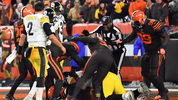 CLEVELAND, OH - NOVEMBER 14: Line Judge Tom Symonette attempts to break up a fight in the end zone between the Pittsburgh Steelers and the Cleveland Browns near the end of the game at FirstEnergy Stadium. (Photo by Jamie Sabau/Getty Images)