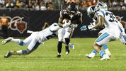 CHICAGO, ILLINOIS - AUGUST 08: Kerrith Whyte #38 of the Chicago Bears runs against the Carolina Panthers during a preseason game at Soldier Field on August 08, 2019 in Chicago, Illinois. (Photo by David Banks/Getty Images)