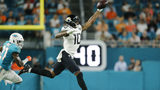 MIAMI, FLORIDA - AUGUST 22: Terrelle Pryor #10 of the Jacksonville Jaguars makes a catch against the Miami Dolphins during the second quarter of the preseason game at Hard Rock Stadium on August 22, 2019 in Miami, Florida. (Photo by Michael Reaves/Getty Images)