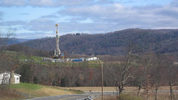 This tower is in place to drill into the Marcellus Shale Formation for natural gas. This well is seen from Pa. Route 118 in eastern Moreland Township, Lycoming County. (RUHRFISCH)