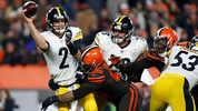 CLEVELAND, OH - NOVEMBER 14: Myles Garrett #95 of the Cleveland Browns knocks down Mason Rudolph #2 of the Pittsburgh Steelers during the fourth quarter at FirstEnergy Stadium on November 14, 2019. (Photo by Kirk Irwin/Getty Images)